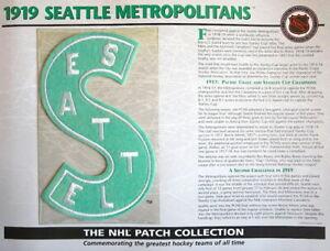 1919 SEATTLE METROPOLITANS Willabee & Ward NHL THROWBACK HOCKEY TEAM PATCH Card