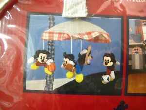 RARE Discontinued Disney Baby Mickey Mouse Sports Baby Crib Musical Mobile