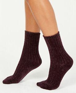 F108 Hue Ivory, Deep Burgundy or Black Women's Chenille Plush Boot Socks