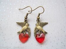 *SWALLOW BIRD RED HEART* Antique Gold Earrings VINTAGE STYLE bronze GIFT Tattoo
