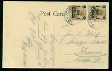 GERMANY OFFICES IN CHINA, #37 1¢ PAIR TIED ON CARD TO GERMANY, SHANGHAI SCENE