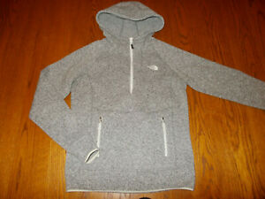 THE NORTH FACE 1/2 ZIP GRAY SWEATER FLEECE HOODIE WOMENS SMALL EXCELLENT COND.