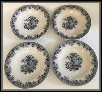 "Antique MAYER & ELLIOTT FLORA 7.25"" Shallow Bowls - Set Of 4 - Extremely Rare!"