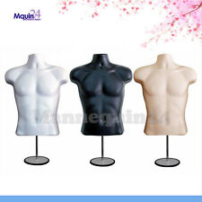 3 Male Mannequin Torsos Set -White Flesh Black Dress Forms + 3 Stands +3 Hangers