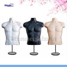 3 Male Mannequin Torsos Set White Flesh Black Dress Forms 3 Stands 3 Hangers