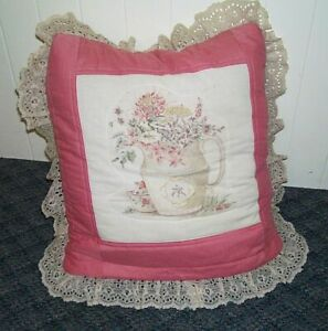 Vintage Lace Trimmed Baby Pillow w/Surprise Crib Quilt Tucked Inside! Good Cond.