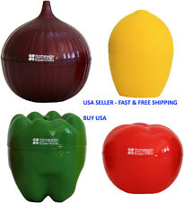 4pcs Containers Vegetable Storage With Onion Pepper Lemon Tomato Shaped Savers