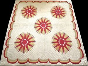 Antique Late 1800's Hand Stitched 9 spi Red Mariner's Compass Quilt 80x76