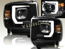 14-15 GMC Sierra 1500 2500HD 3500HD Projector Plank Style LED Headlights Black