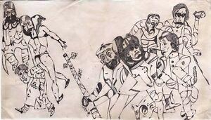 """Expressionist Filzstift Papier """"Auf der Strasse"""" 47x27 cm"""