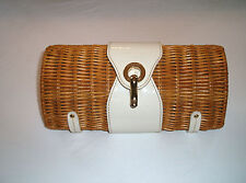Kate Spade New York Natural White Patent Leather Wicker Rattan Straw Clutch Bag