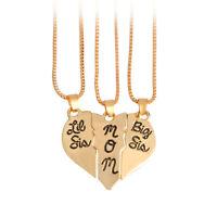 "3pcs Lettering Necklace""Little Sis MOM Big Sis"" Love Heart Pendant Family JHb"