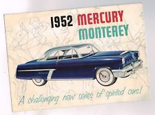 1952 MERCURY MONTEREY Brochure / Pamphlet: Special Custom Coupe, Convertible,