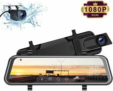 "TOGUARD Mirror Dash Cam, Upgraded 10"" Dual 1080P FHD Car Camera Dash Cam Front a"
