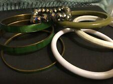 Green Enameled Child Sized ? Lot Of Bangle Bracelets One Stretch