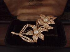 VINTAGE gioielli Grande Fiore Spilla incastonato con cristalli e perle