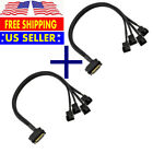 2x 15-Pin Male SATA to 4 Fan 12V Sleeved Power Adapter Cable 3 pin / 4 pin