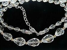 "Signed Swarovski Necklace Crystal Graduated Teardrop Long 24.5 - 27.5"" N464"