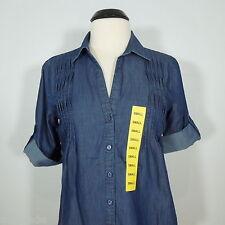 GLORIA VANDERBILT Women's V-Neck Button Front Denim Look Shirt size S (NEW)