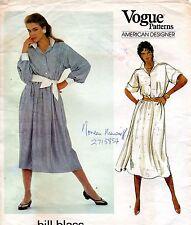 1980s Vogue American Designer Sewing Pattern 2961 Bill Blass Dress & Belt Sz 10