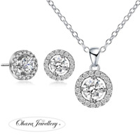 18K White Gold Cubic Zirconia Round Necklace & Earrings Wedding Jewellery Set