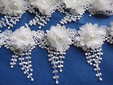 2y Flower Chiffon Lace Edge Trim Pearl Wedding Applique DIY Sewing Crafts