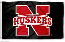 Nebraska Huskers Huskers Black Flag 3x5 Banner