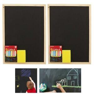 2 Pack Kids Chalkboard Set Eraser Color Chalks Dry Hanging Draw Board Blackboard