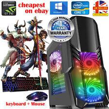 Gaming PC Quad Core i3 Computer SSD HDD 8GB RAM 1TB GT710 Windows 10 Fast WiFi