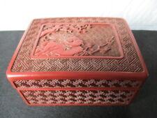 Boîte chinoise en cinabre sculptée début du XXe siècle oiseau sur une branche