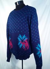 Vtg Playboy Sweater Western Rodeo Blue Men's Size XL USA Made