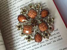 New Bohemian Resin Brown Rhinestone vintage Bronze flower Bronze leaves brooch