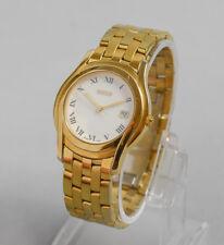 Vintage GUCCI Men's Swiss Gold Plated Steel 5400M Quartz Watch White Roman Dial