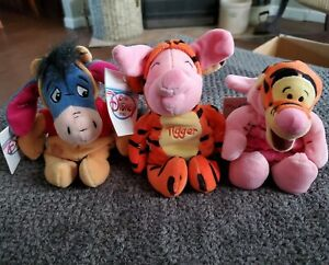 Disney Winnie The Pooh Tigger, Eeyore, and Piglet Beanie Plush Lot of 3