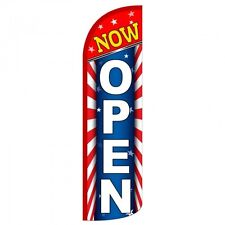Now Open Swooper Flag Only Windless 3' Wide Sign Banner Stars And Stripes
