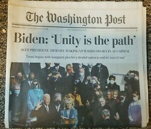 Washington Post Newspaper Biden Inaugurated, January 21,2021 MailedFlatInPlastic