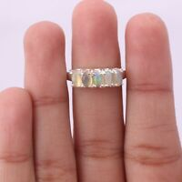Ethiopian Opal Handmade Jewelry 925 Solid Sterling Silver Five Stone Ring Size 7