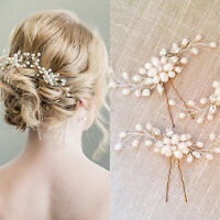 Wedding Bridal Pearl Flower Crystal Hair Pins Clips Prom Party Hair Accessories