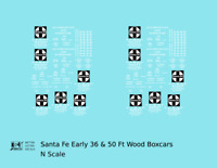 K4 N Decals Santa Fe 36 Ft and 50 Ft Wood Boxcar White