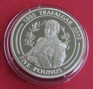 GIBRALTAR 2005 BATTLE OF TRAFALGAR SILVER PROOF £5 CROWN - A
