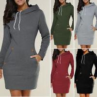 Winter Women's Hooded Hoodies Sweatshirt Casual Long Sleeve Sweater Jumper Dress