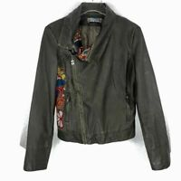 DESIGUAL Faux Leather Embroidered  Moto Jacket SZ 40