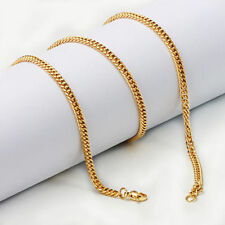 3mm Stainless Steel 18k Gold Link Curb Cuban Chain Necklace Men's Jewelry 24''
