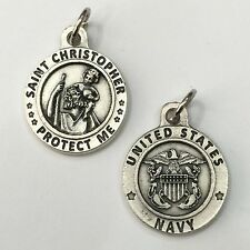 """Saint Christopher 3/4"""" Medal Pendant Protect US United States Navy Silver Tone"""
