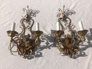 "Pair Of Vintage Italian Crystal And Gilded Wrought Iron Sconces 16""  X 9"""