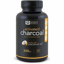 Charcoal Organic Activated Capsules Gas Relief Detox Bloat Coconut Pills 300mg