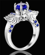 Fashion Women's Blue Sapphire Skull Wedding Ring 18K white Gold Filled Size 7