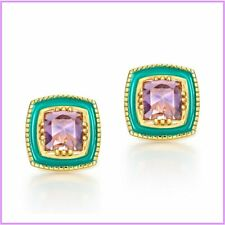 925 Sterling Silver Earrings Natural Amethyst Gemstones  Real Gold Plated