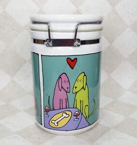 Ursula Dodge Dog Treat Jar Hinged Locking Lid Biscuit Canister Puppy Love
