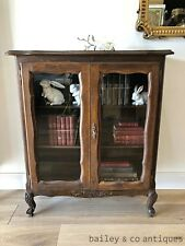 French Vintage Oak Bookcase Display Cabinet Louis Style - OF063